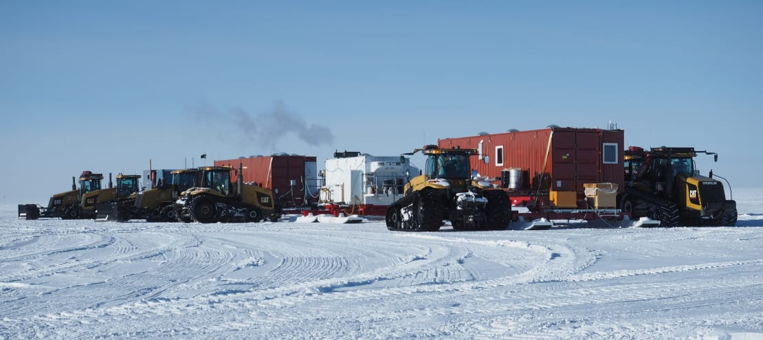 Camp for the South Pole traverse team includes trailers for living space.