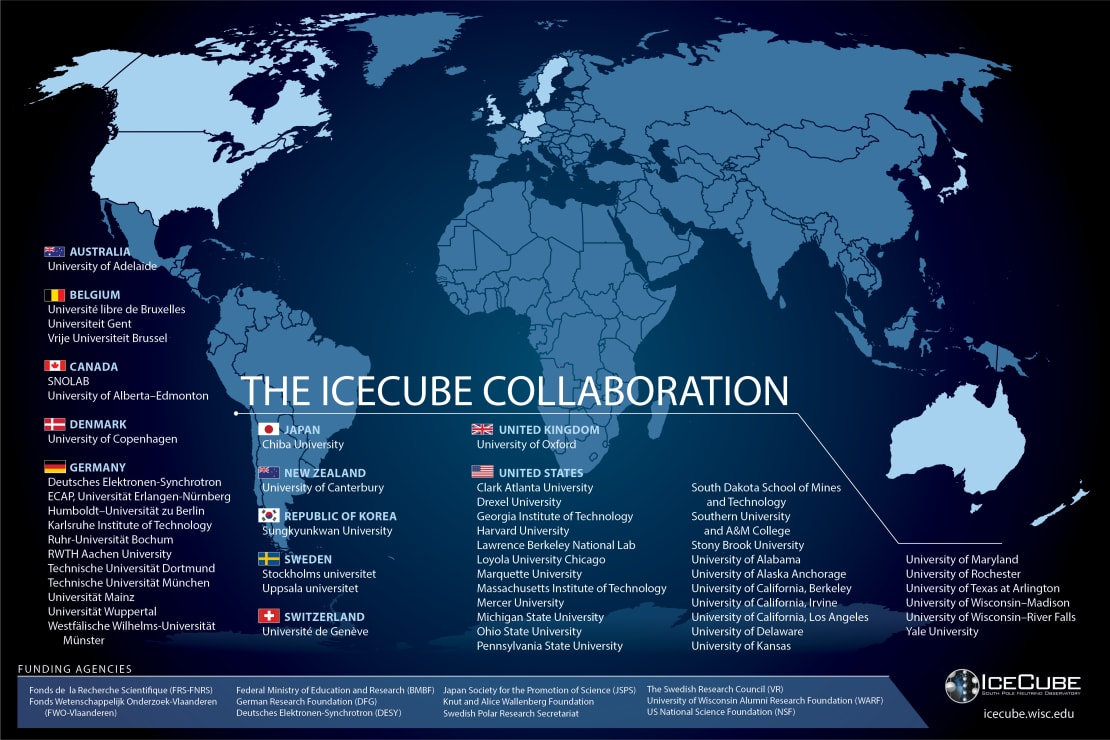IceCube Collaboration map, September 2020