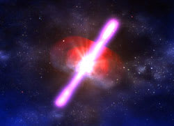 Illustration of a gamma ray burst