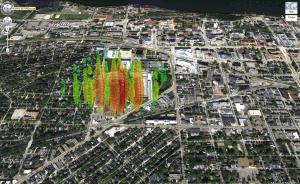 A high-energy neutrino over Madison, Wisconsin