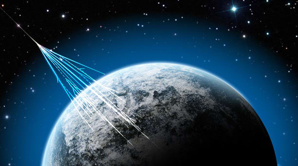 Rendering of cosmic rays hitting the Earth.