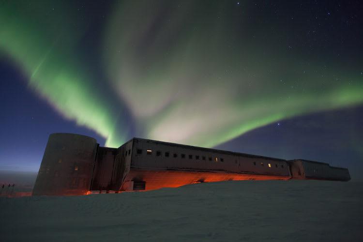 aurora over station