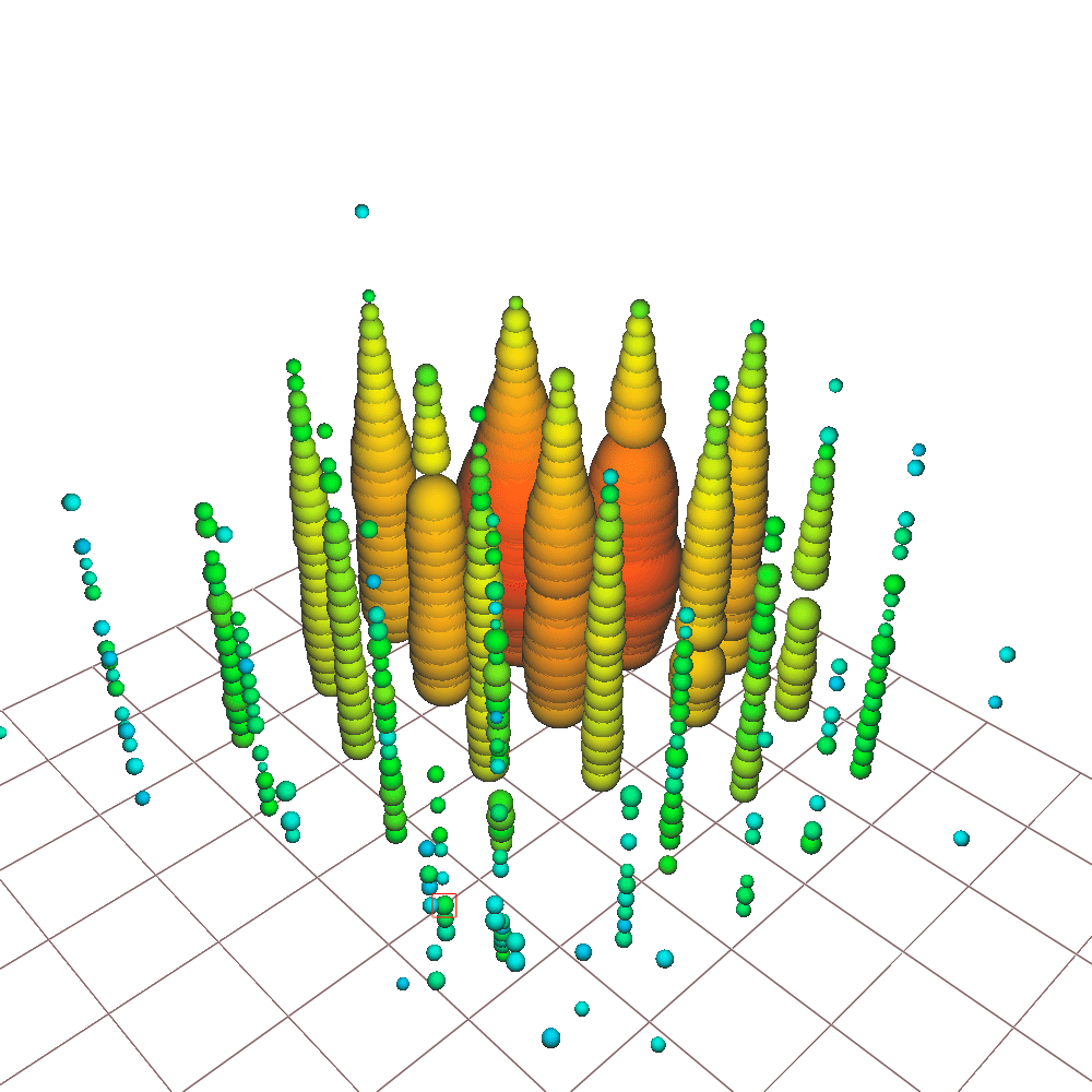 A visualization of the Glashow event recorded by the IceCube detector.
