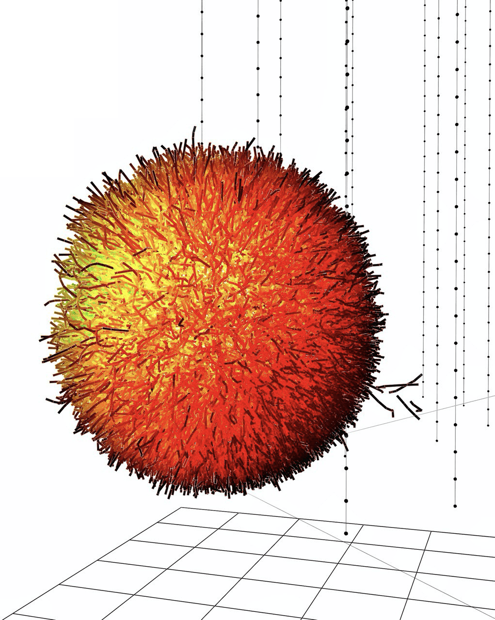 Simulation of the Glashow event photon burst