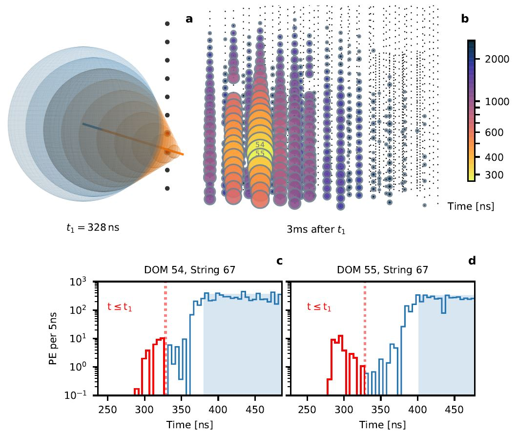 Visualizations of IceCube data for the Glashow event, adapted from the Nature paper
