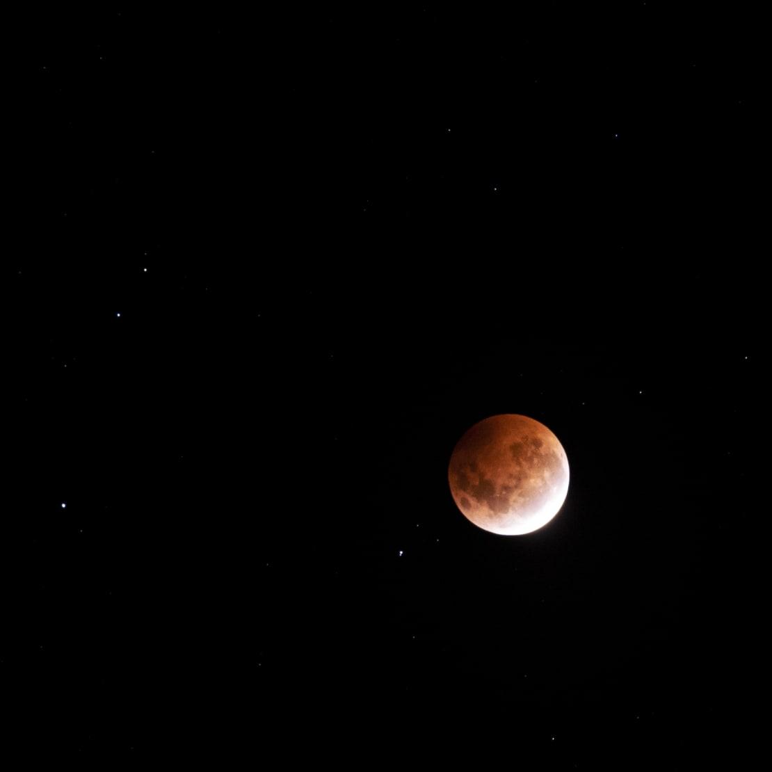 Close-up of super blood moon.