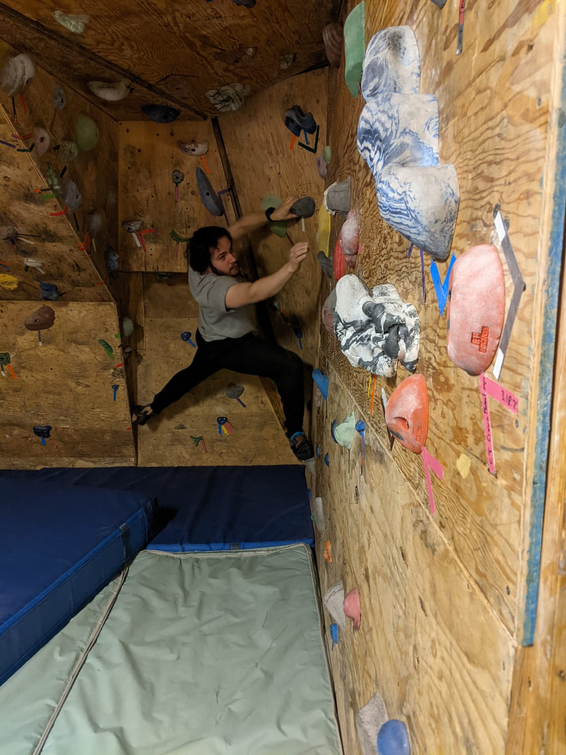 Person on rock climbing wall.