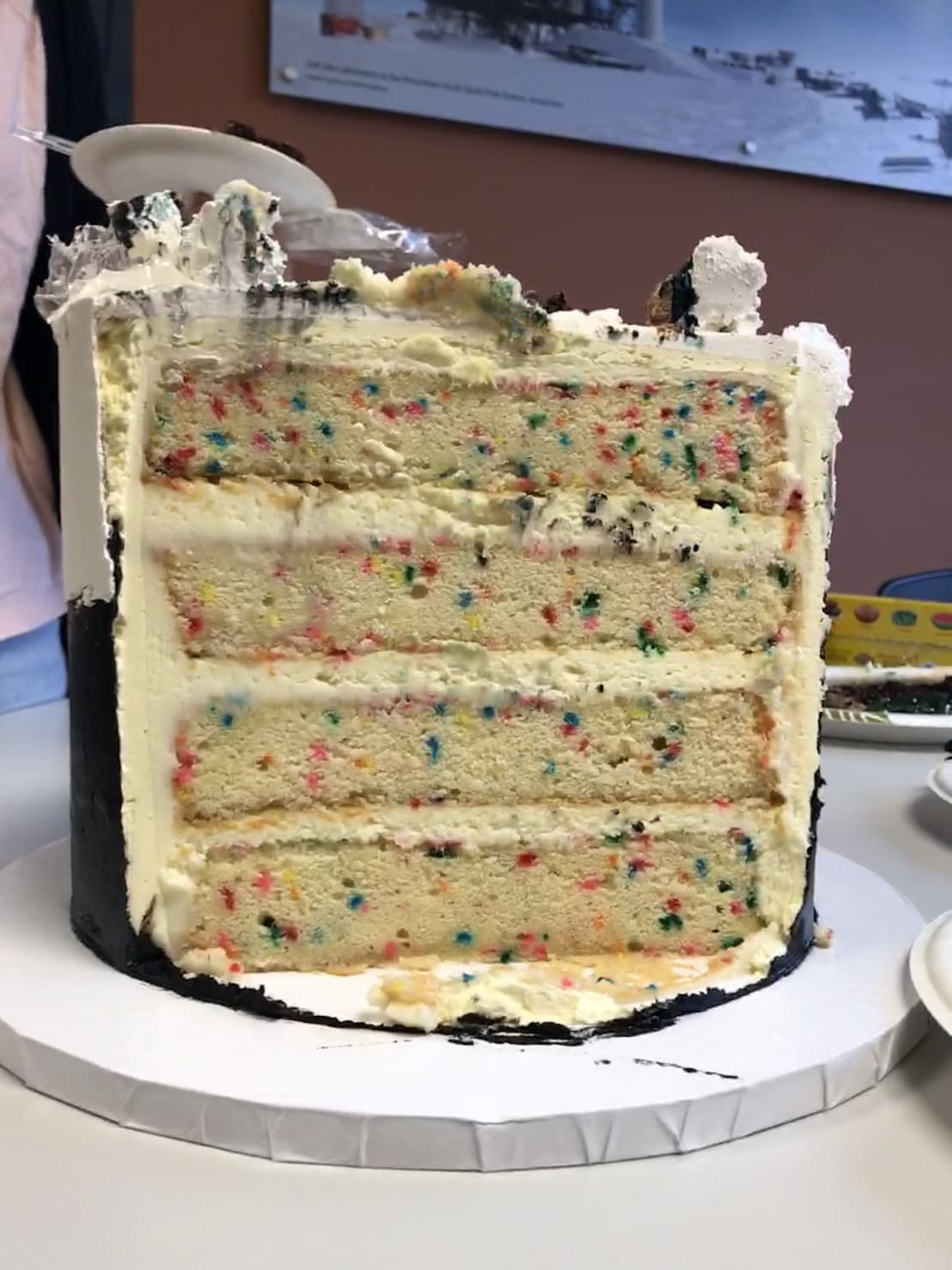 The bottom tier is funfetti cake (aka vanilla with rainbow sprinkles) with cream cheese frosting.