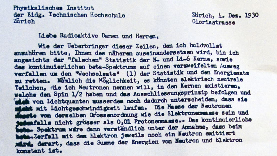 """Scan of Pauli's famous letter from 1930 in which he postulates a hypothetical """"neutron"""" particle that would be found to be the neutrino."""