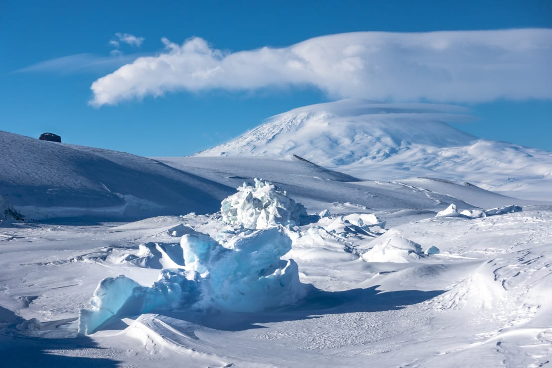 View of pressure ridges (ice formations) looking toward Mount Erebus.