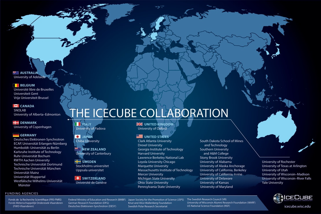 A map of all participating institutions of the IceCube Collaboration as of June 2021.