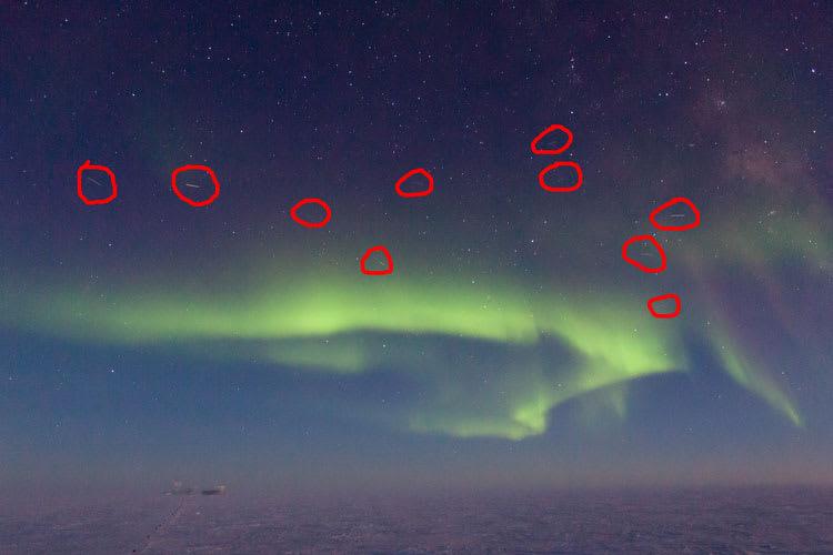 aurora with satellites