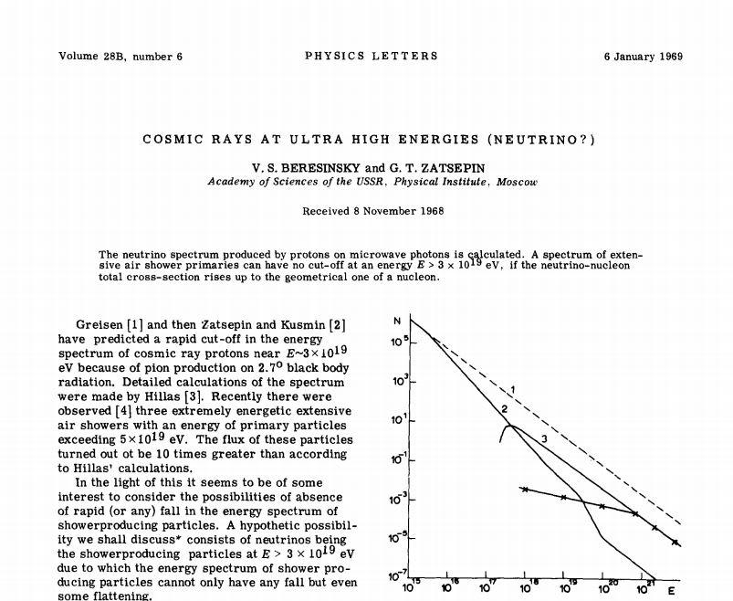 A scan of Berezinsky and Zatsepin's 1969 paper.