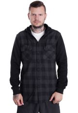 Urban Classics - Hooded Checked Flanell Sweat Sleeve Black/Charcoal/Black - Shirt