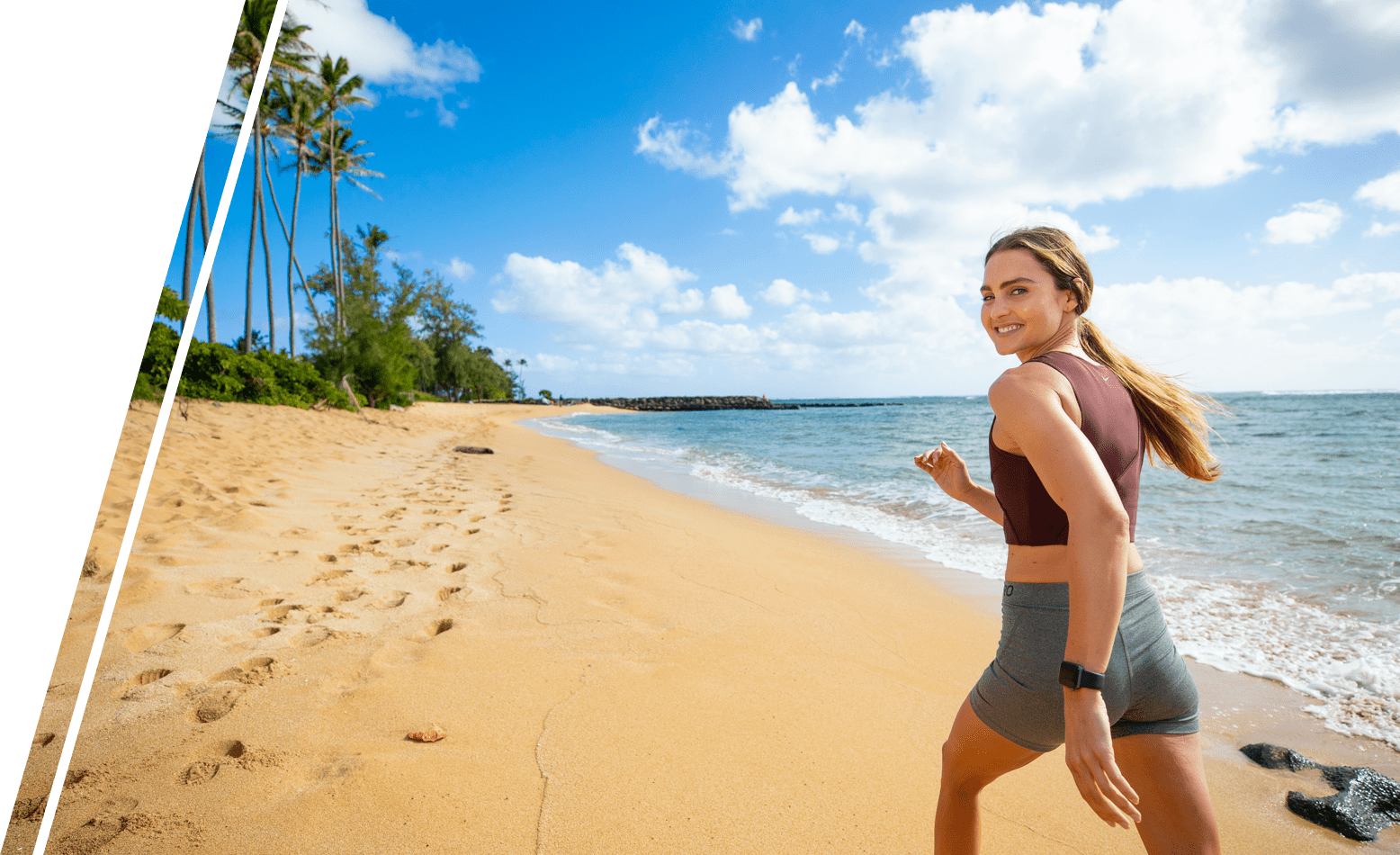 running on hawaiian beach