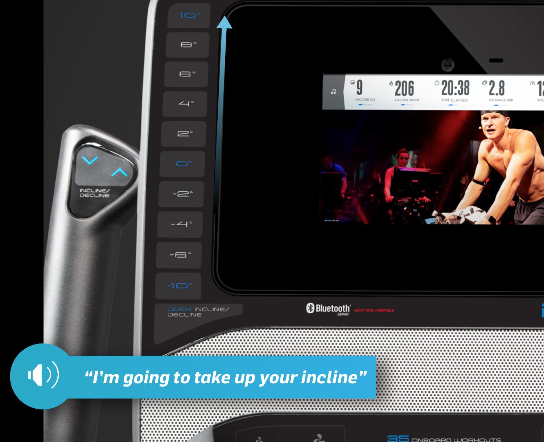 Trainer jogging on treadmill