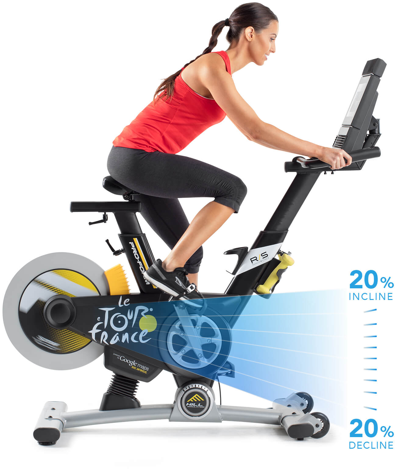 Bike with diagram showing that it can go from 20% incline to 20% decline