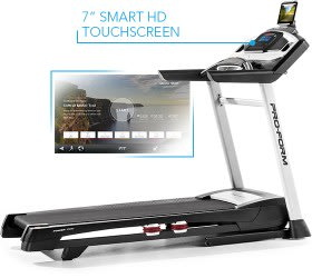 "Workout Warehouse ProForm Power 1295i Treadmills The ProForm Power 1295i Treadmill with a 7"" smart HD touchsreen."
