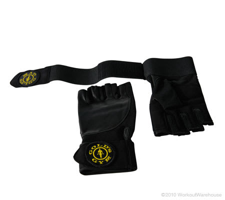 Workout Warehouse Gold's Gym Wrist Wrap Gloves X-Large Accessories