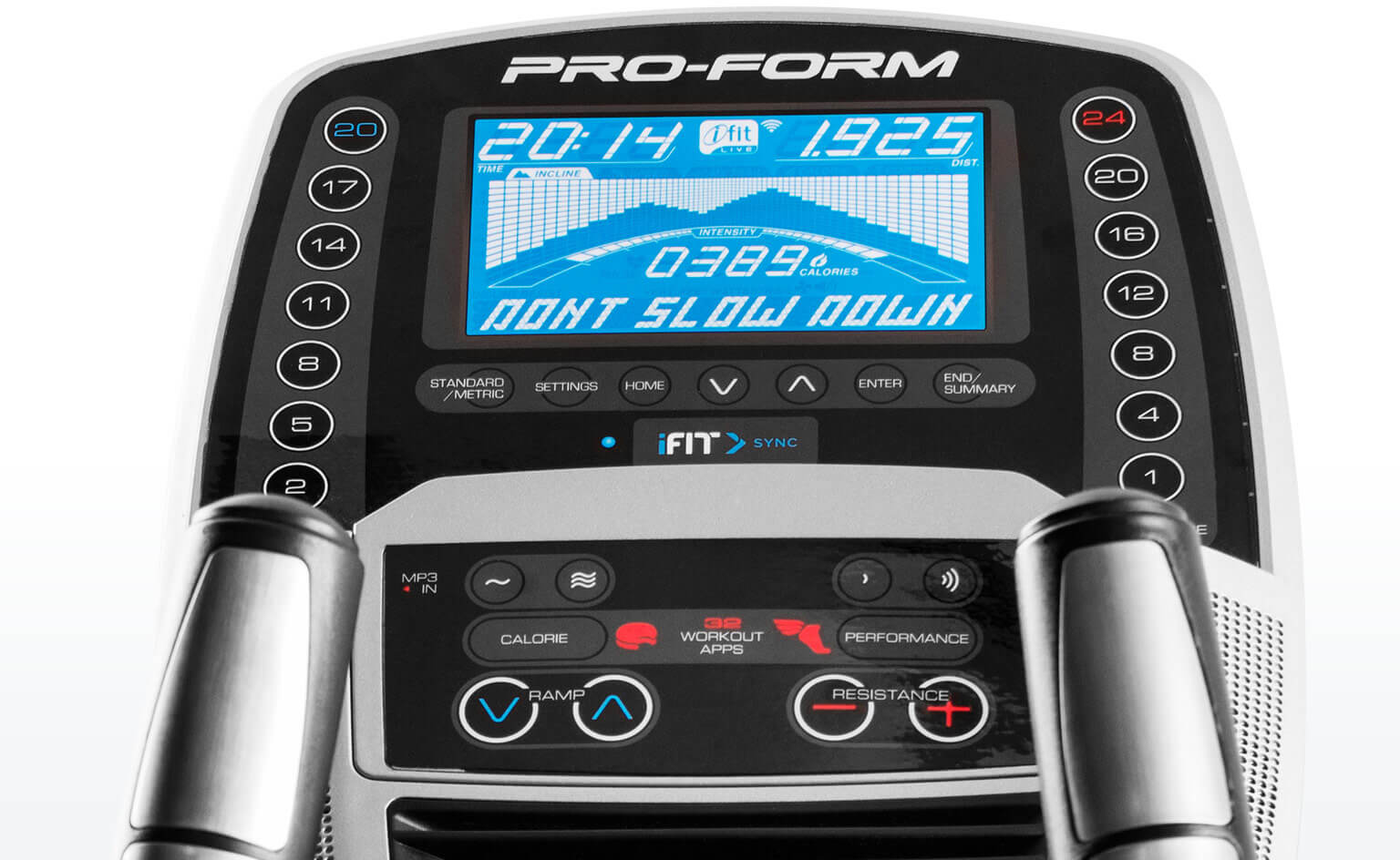 Main console for the Pro 9.9 elliptical.