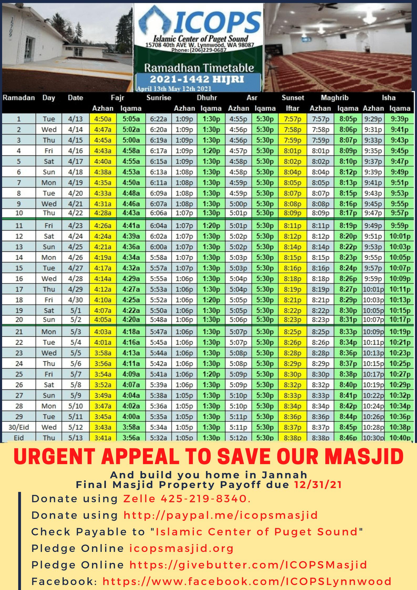 ICOPS Ramadan Schedule