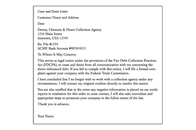 writing a cease and desist letter to a creditor
