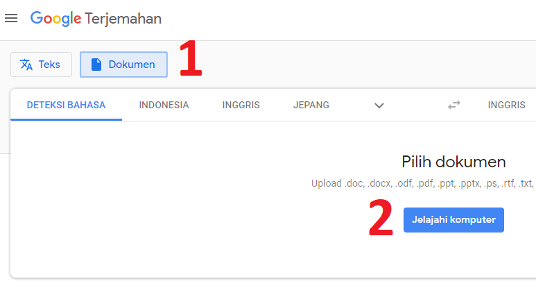 Google Translate Dokumen