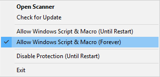 Allow Windows Script & Macro (Forever)