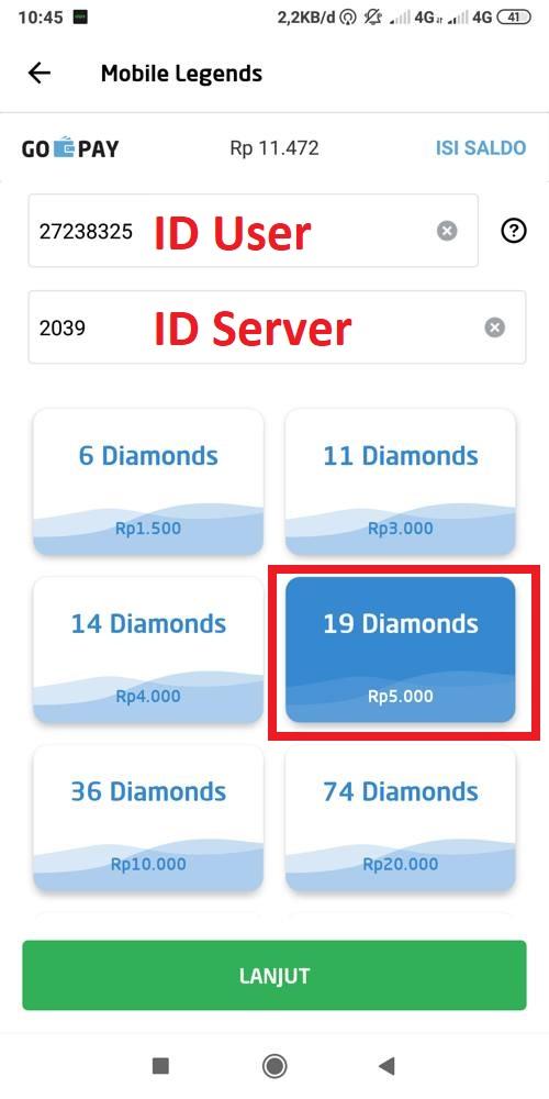 Masukan ID User dan ID Server