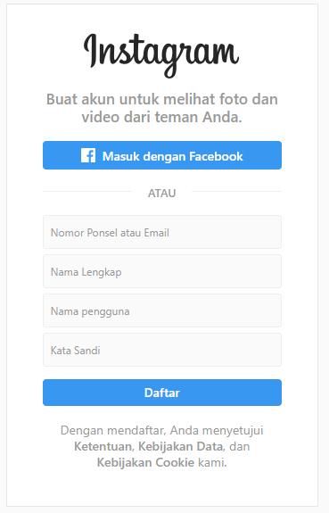 Pendaftaran Instagram