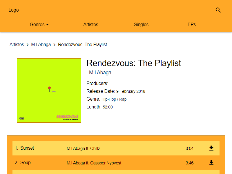 undiluted music rendezvous page screenshot