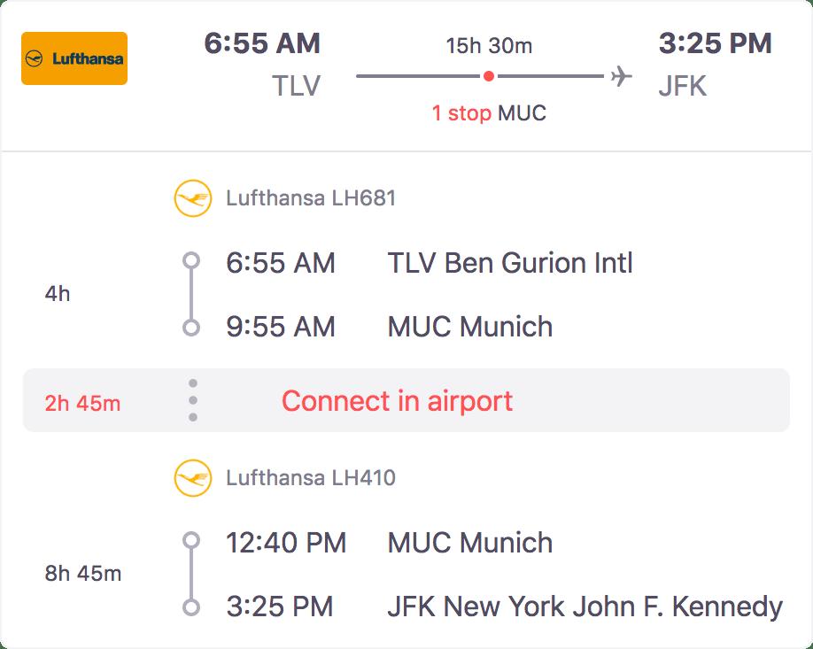 מסלול טיסה לדוגמה: קונקשן של שעתיים ו-45 דקות במינכן, צילומסך מ-SkyScanner.