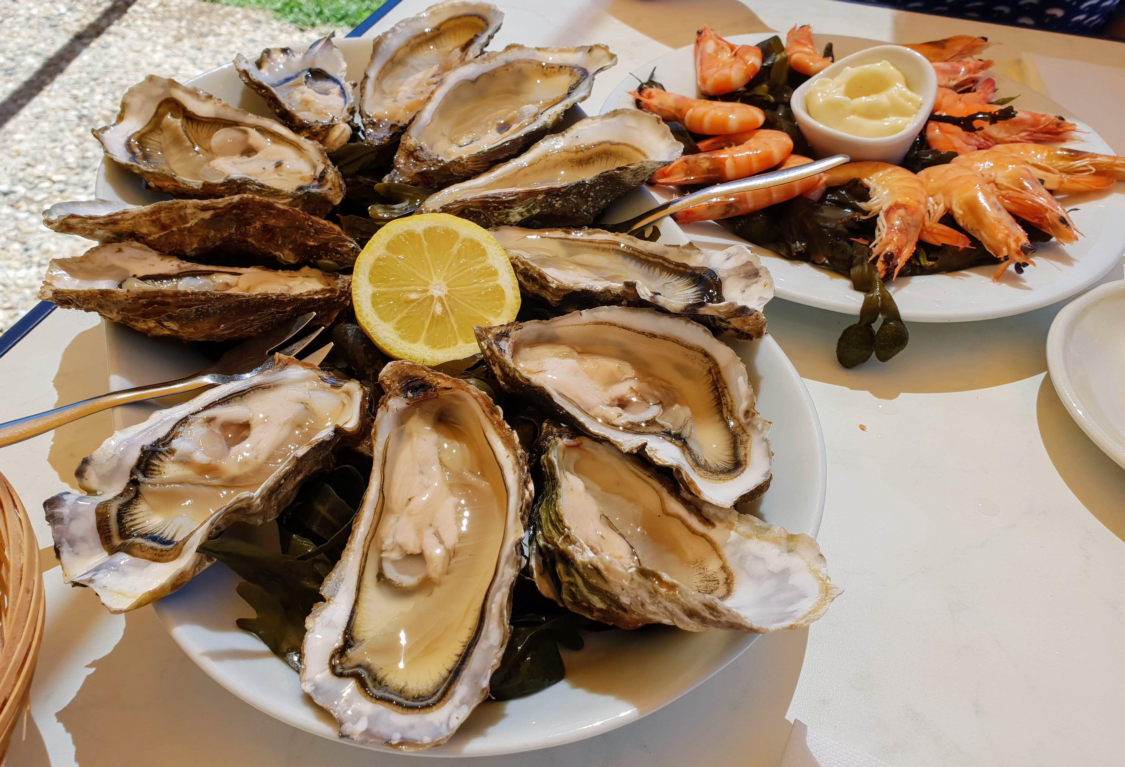אוייסטרים ופירות ים במסעדת Le Café de la Mer ליד לה רושל