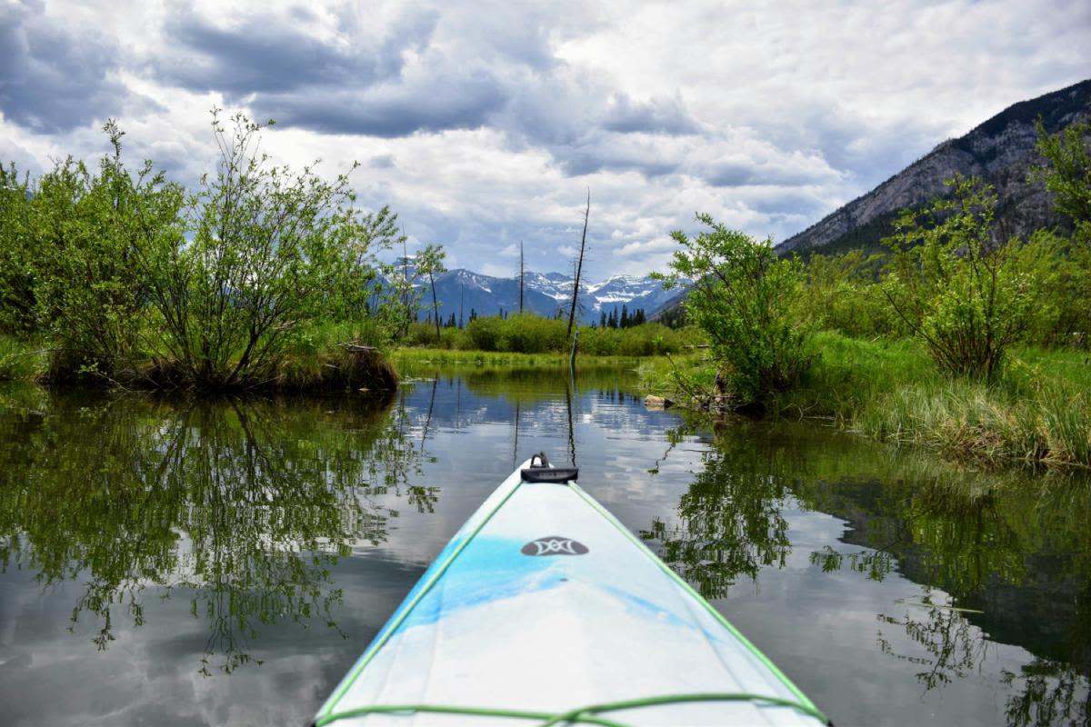 שיט קיאקים בנהר בו (Bow River), באנף, קנדה