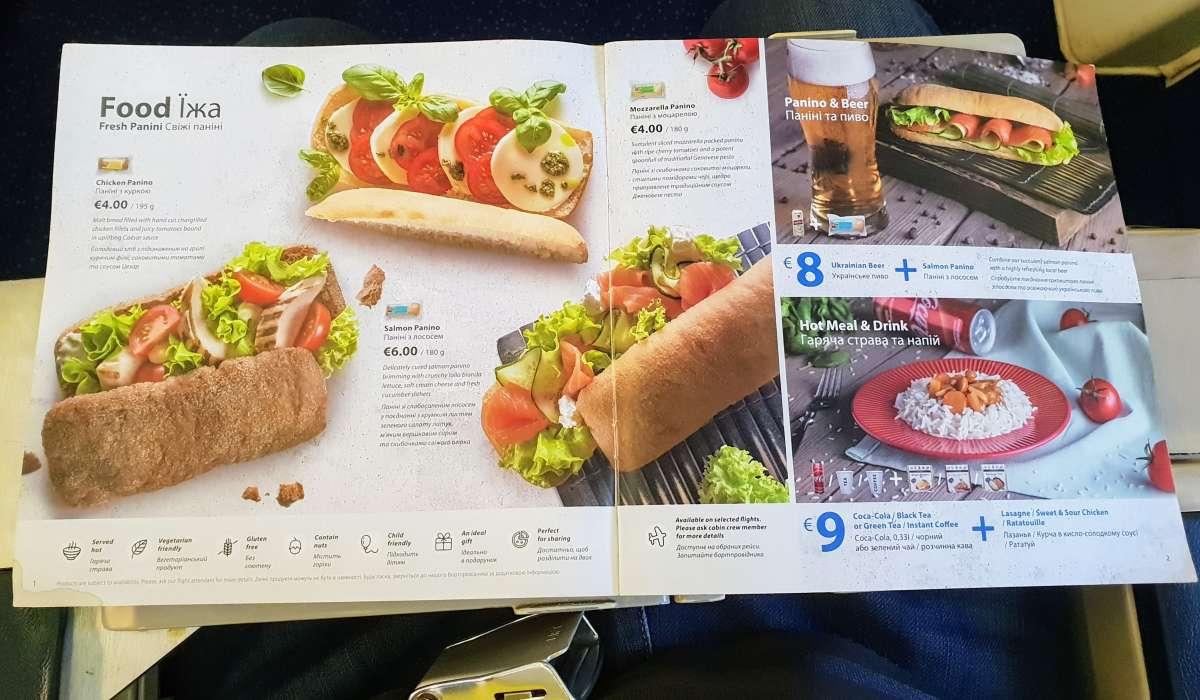 תפריט אוכל של יוקריין איירליינס (UIA) בטיסות במחלקת תיירים (אקונומי)