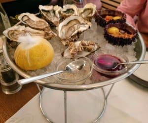 """צדפות אוייסטר וקיפודי ים במסעדת """"ריבה מויה"""""""