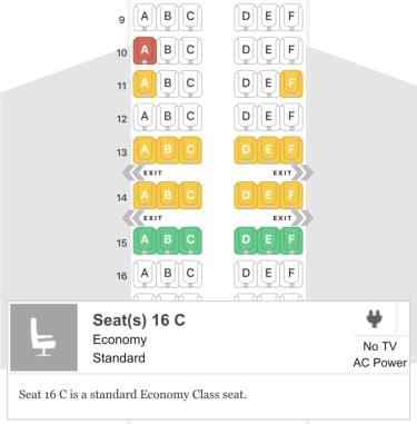 שקעי חשמל לפי מושבים ספציפים במטוס