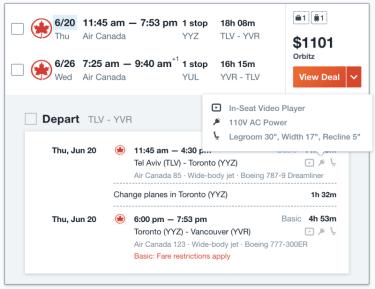 מידע על שקעי חשמל בזמן הזמנת כרטיסי טיסה