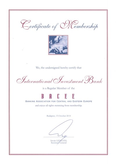 International Investment Bank joined the Banking Association for Central and Eastern Europe