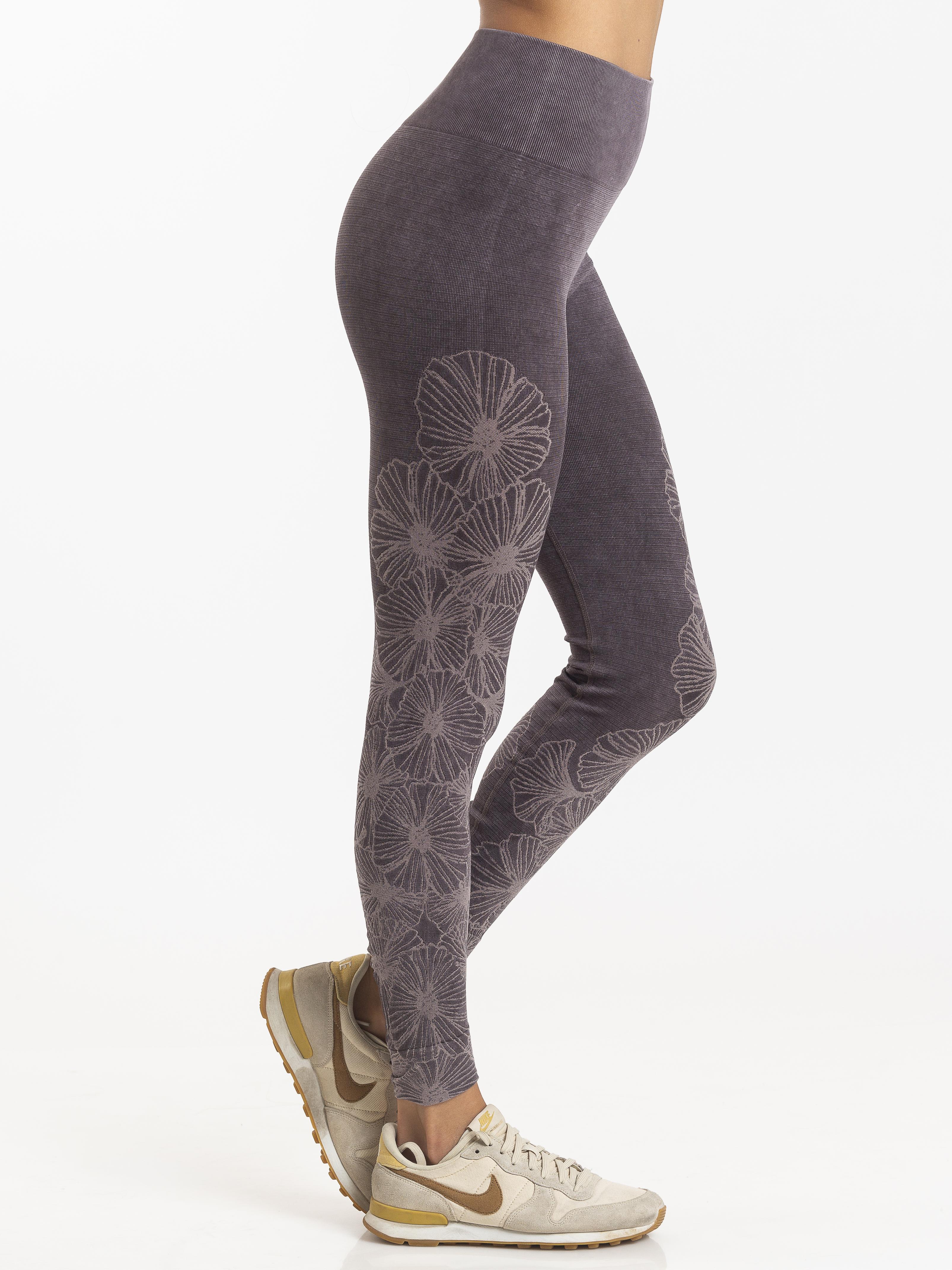 Grey flower active leggings