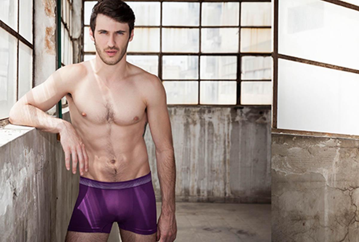 Man in purple seamless boxer
