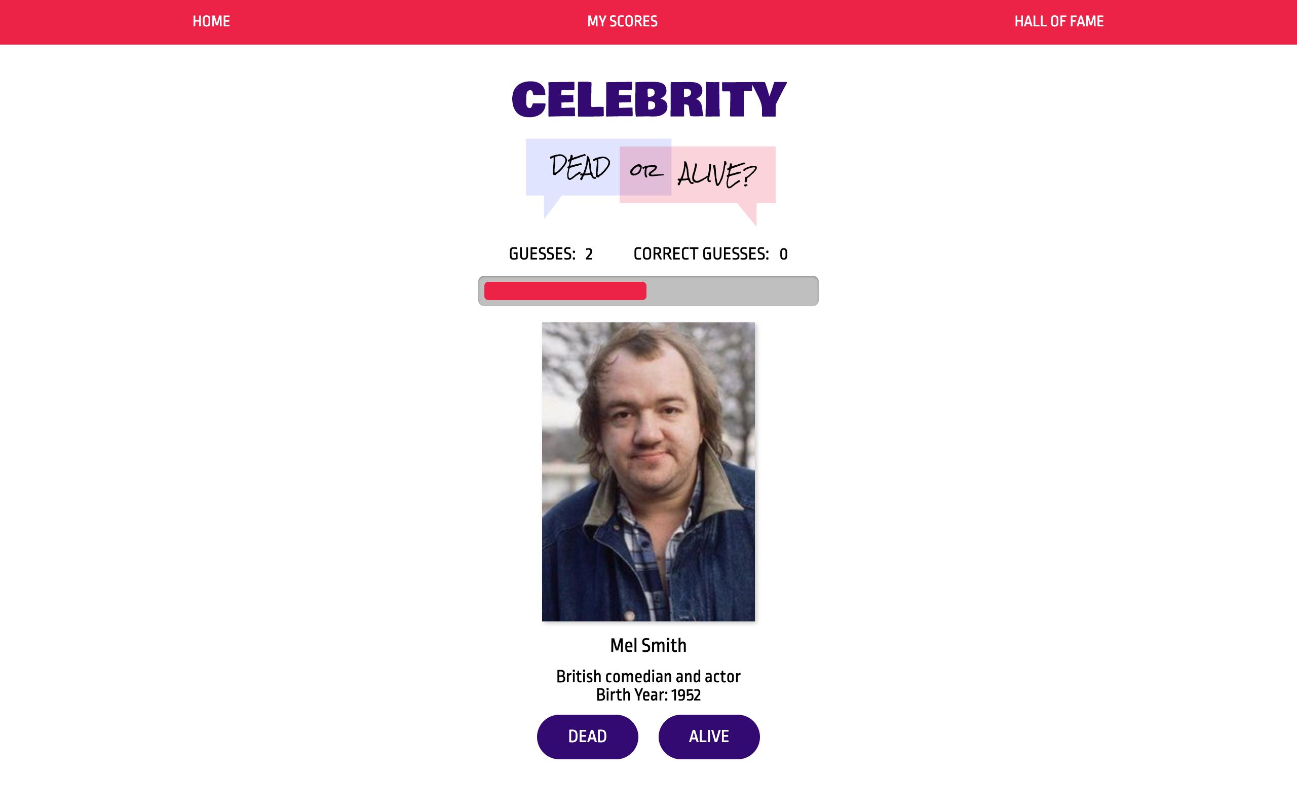 Celebrity Dead or Alive Game