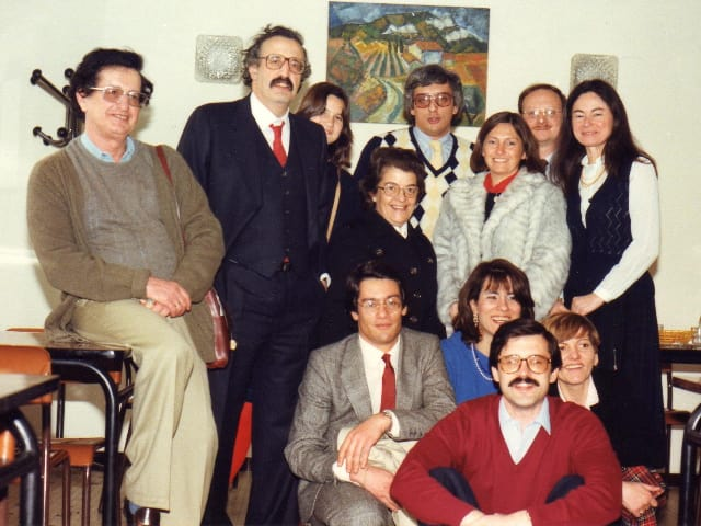 With Pr E. Fernandez Alvarez, Pr Nicole Pinsard, Italian, Spanish and French young doctors, 1984