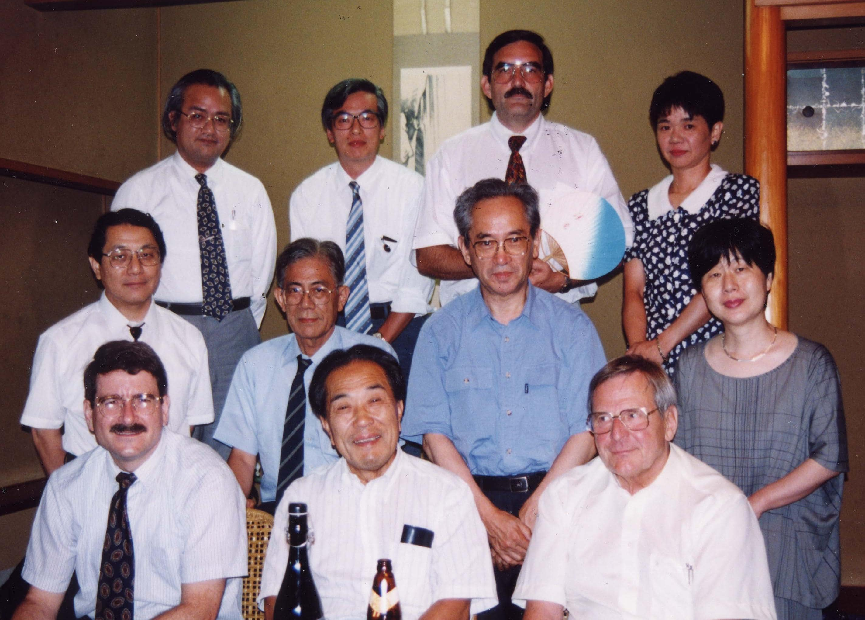 Bottom row left to right: Drs. Holmes, Wada and Scheffner; middle row: Drs. Oka, Ohtahara, Seino, and Ohtsuka; 