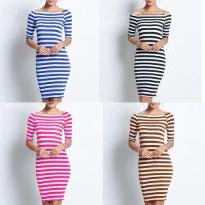 3317e5c7195e Woman Tight Fit Striped Dress Body Contoured Dress Casual Half ...
