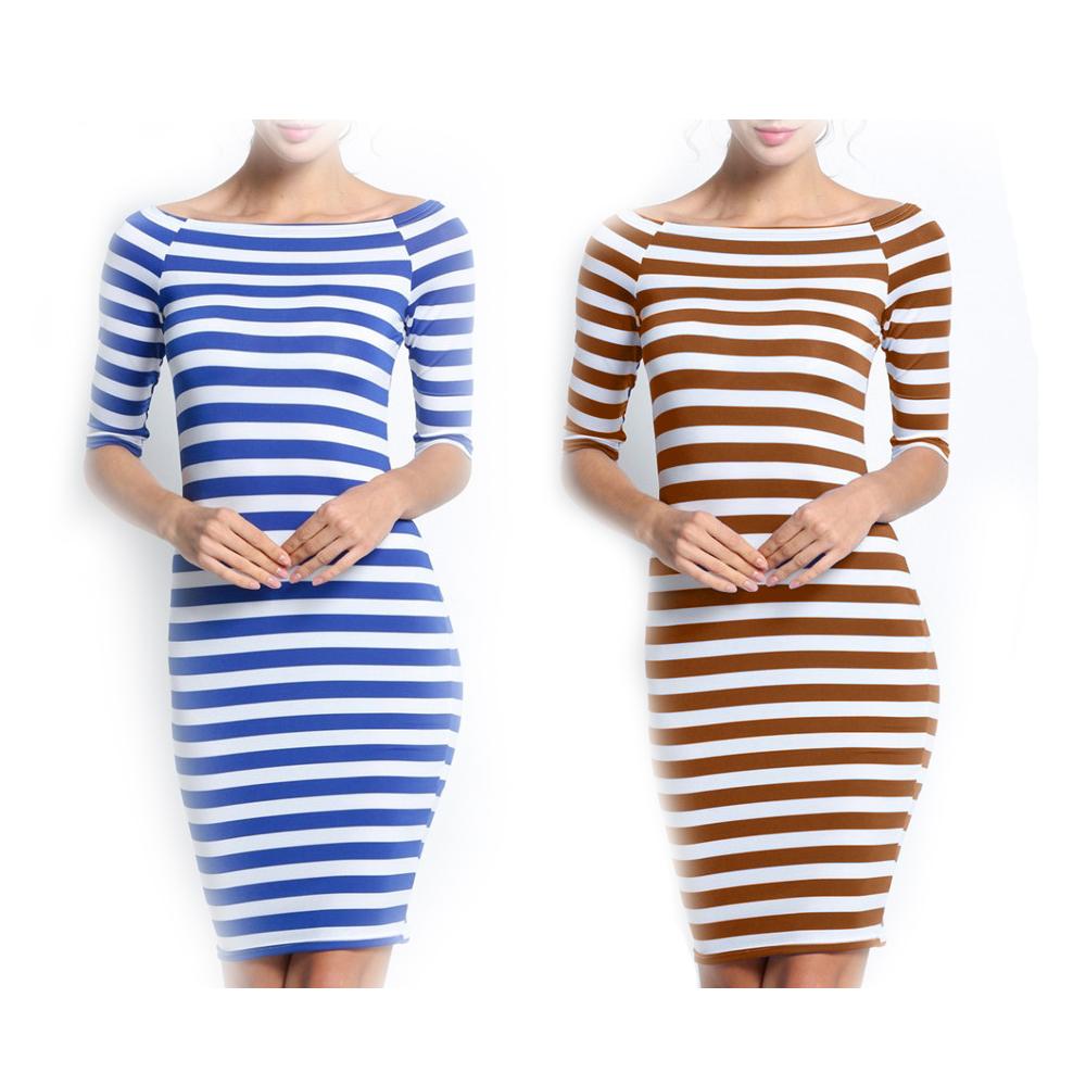 750597b35f91 Woman Tight Fit Striped Dress Body Contoured Dress Casual Half Sleeve Off  ...