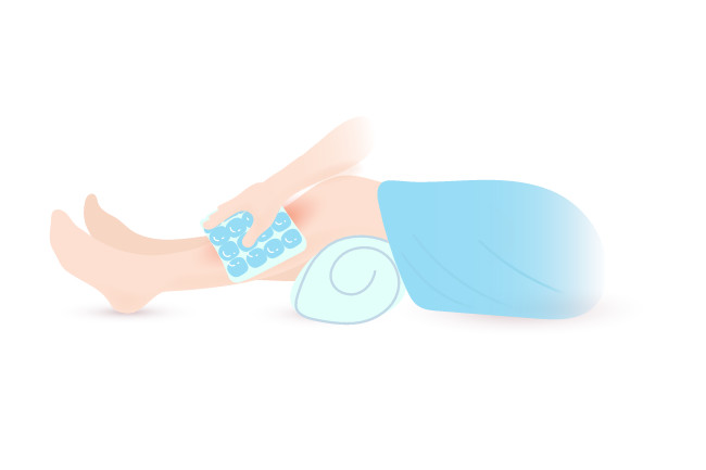 Ice is an effective method to treat sore shins.