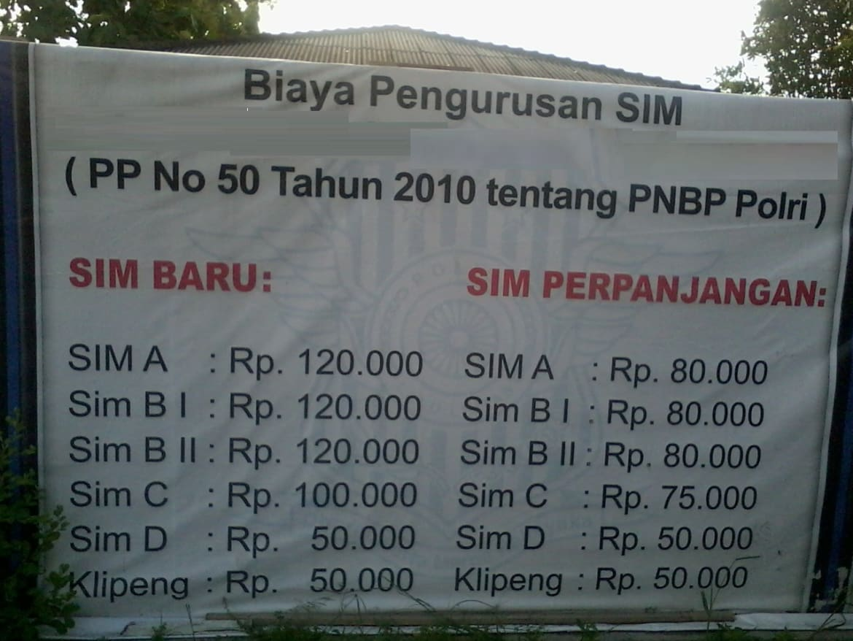 biaya resmi pembuatan SIM