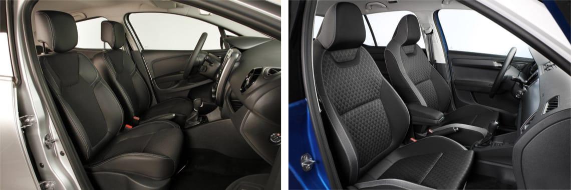 Las fotos del Renault Clio corresponden al acabado Zen. Las fotos del Škoda Fabia corresponden al acabado Style. Fotos cedidas por KM77.