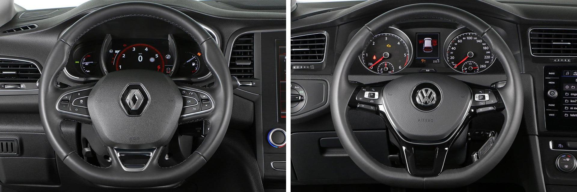Las fotos del Renault Megane corresponden al acabado Bose con cambio EDC. Las fotos del Volkswagen Golf corresponden a la versión indicada. Fotos cedidas por KM77.